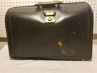 VTG Doctors Bag Black Leather WITH KEY Made By Prescott in USA