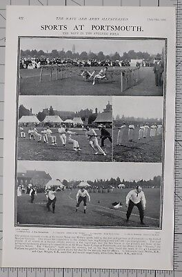 1901 Print Sports At Portsmouth Officers Of Royal Naval Depot Obstacle Race