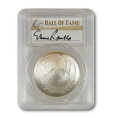 2014-P Baseball HOF Silver $1 -- PCGS MS69 -- Hand Signed By Ernie Banks