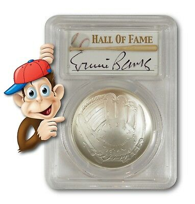 2014-P Baseball HOF Silver $1 -- PCGS MS70 -- Hand Signed By Ernie Banks