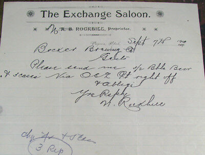#13 - rare! 1900 old THE EXCHANGE SALOON / PAYSON, UTAH UT letterhead ROCKHILL