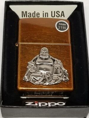 Zippo Windproof  Lighter With Buddha Emblem, 21195 toffee color brown New In Box