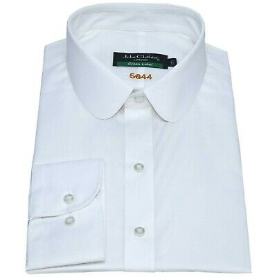 Peaky Blinders Cotton White Club Penny collar Men shirt  Round collar for Gents