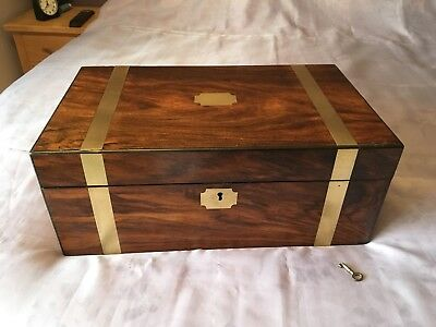 Victorian Writing Slope/ Box With Working Lock And Lock