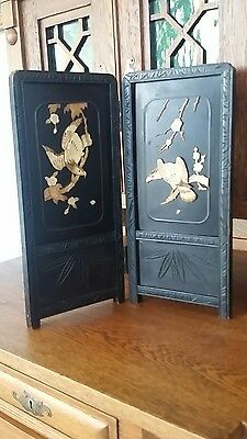 Vintage Chinese Carved 2 panel Lacquered Carved Mini Table/Scholars Desk Screen