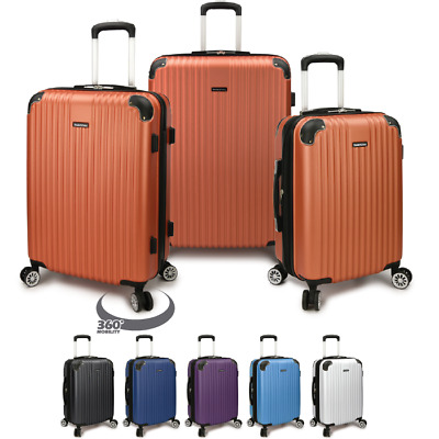 Charvi 3pc Hardside Expandable 8-Wheel Spinner Luggage Set w/Matching Color Trim