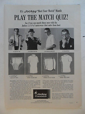 1965 Print Ad JOCKEY Men's Briefs Underwear ~ Play the Match Quiz!