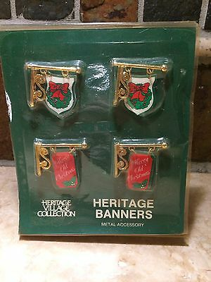 Dept 56 HERITAGE BANNERS Village Collection Metal Christmas Signs Accessories