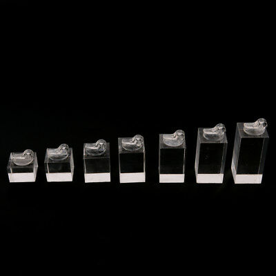 Set of 7 clip ring acrylic display stand jewelry holder Riser H&P