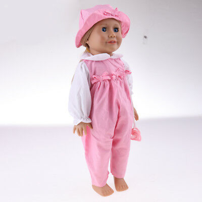 """Pink Rompers with Hat Pacifier Clothes for 18"""" American Girl Journey Dolls"""