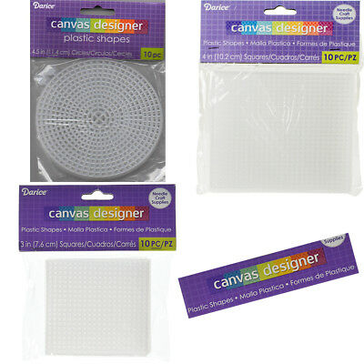 Plastic Canvas By Darice  - Circles or Squares - Pack Of 10 Or Pack Of 2 Pieces