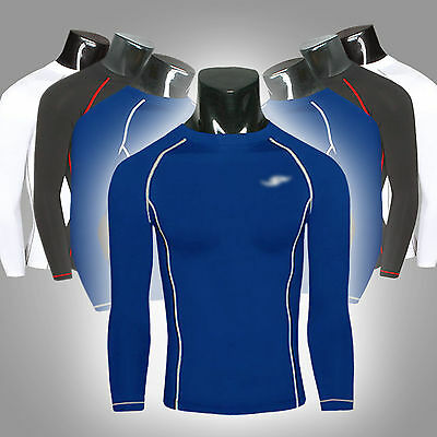 Mens Compression Base Layer Tops Long Sleeve Thermal Bodybuilding Sports T Shirt
