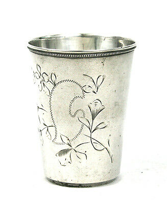 Antique Imperial Russian Silver 84 Large Vodka Beaker Glass Engraved c.191046 g