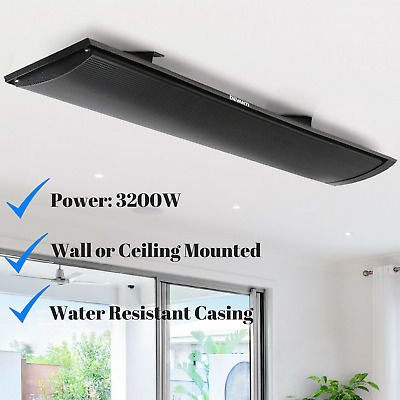 3200W Radiant Panel Heater Wall Ceiling Mounted Heating Slimline Cafe Shop NEW