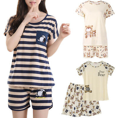 Women Cartoon Pajamas Short Sleeve Cotton Pyjamas Set Home Nightwear Sleepsuit