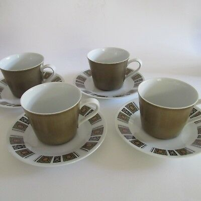Vintage Retro 1960s Stoneware 6 piece Coffee Cup Set RC Japan Mid Century Modern