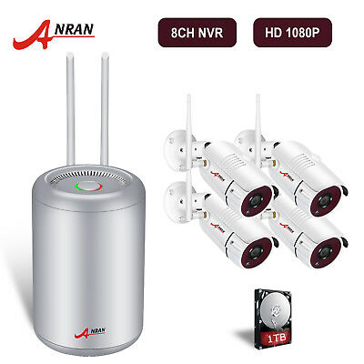 ANRAN 1080P HD Wireless Security Camera System Outdoor 8CH 2MP WiFi NVR Kit 1TB