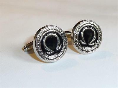 W2301...cufflinks - Greek Omega Design - Gift Bag - Free Uk P&p