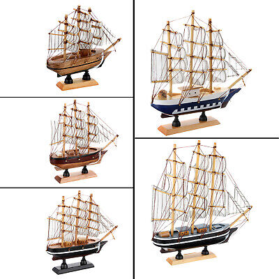 14/16/20//24/30cm Hand-made Wooden Wood Sailboat Ship Craft Model Decor Boat