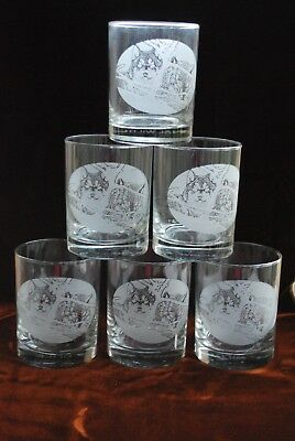 National Wildlife Federation Wolf glasses set 6 Eyes in the Mist D Pierce wolves