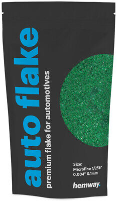 "Hemway Metal Flake Emerald Green 0.004"" MICROFINE 100g Auto Bike Glitter Paint"