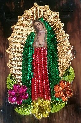 Mexican Sequin Applique Patch Virgin of Guadalupe & Flowers 25 x18 CMS