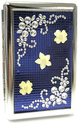 Eclipse Blue Metal Handcrafted Stones Flowers Crushproof Cigarette Case, 100s