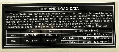 Kawasaki Z1 900 Z1A 900 Z1B 900 Tire Tyre And Load Data Caution Warning Decal