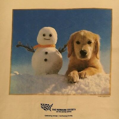 official HUMANE SOCIETY OF UNITED STATES t shirt - PUPPY DOG snowman - NEW - (L)