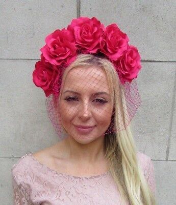 Cerise Hot Pink Rose Flower Birdcage Veil Fascinator Headband Races Hair 5879