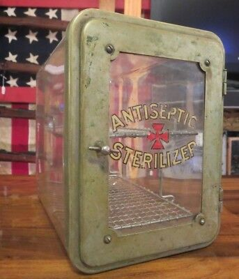 Barbershop Antiseptic  Sterilizer Glass Cabinet (Extremely Rare!) All Original!