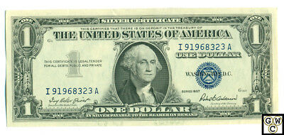 1957 United States One Dollar Silver Certificate (Serial No- I 91968323 A)(OOAK)