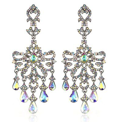 Huge Victorian Austrian Crystal Drop Chandelier Dangle Earrings E2097AB AB White