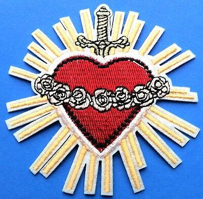 Heart Dagger Roses Love Biker Shaped Sun Rays Embroidered Iron on Patch Gold