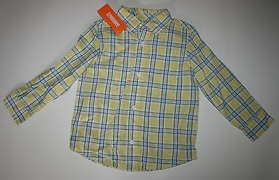 New Gymboree Boys Marina Party Line Plaid Button Down Long Sleeve Shirt 2T NWT