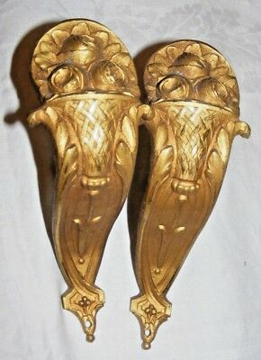 Pair Antique French Ormolu Flower Basket Gilt Bronze Tringle Curtain Rod Support