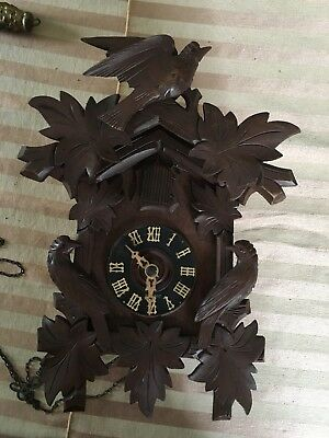 Antique CooCoo cuckoo Clock black forest German Nessalc Co