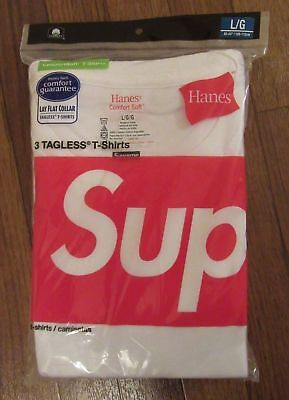 3f255ab22d Supreme Hanes Tagless Tees 3-Pack White Sz Large L Ss18 New! Box Logo