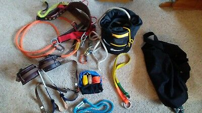 LOT Climb Right Gaffs Bukkingham Spur pads Weaver Harness,Carabiners,Rope,Bags +