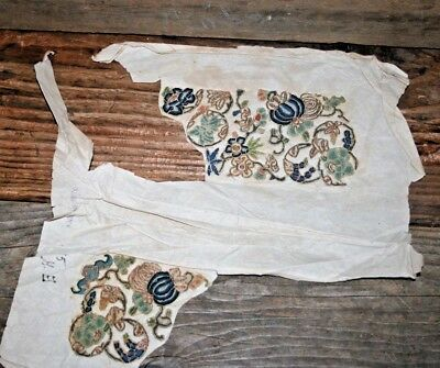 Unused Antique Chinese silk Forbidden Stitch Gold Thread Embroidery on Paper #6