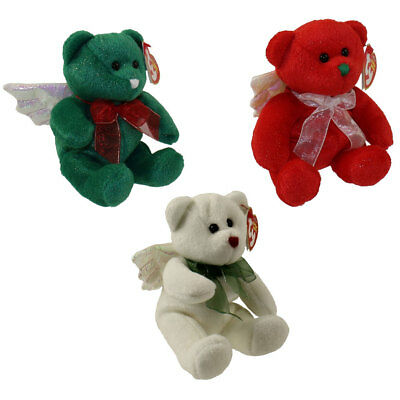 TY Beanie Babies - SET OF 3 HARK ANGEL BEARS (Red, Green & White) - MWMTs