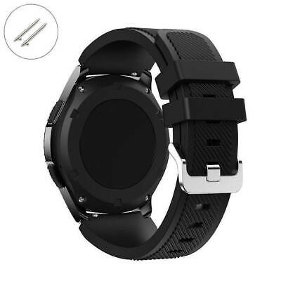 Black 22 mm Rubber Silicone Replacement Watch Band Strap Quick Release Pins 4041