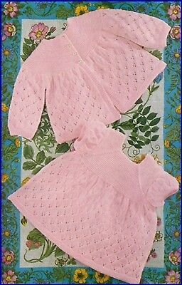 Vintage baby knitting pattern Copy Dress and Matinee Jacket