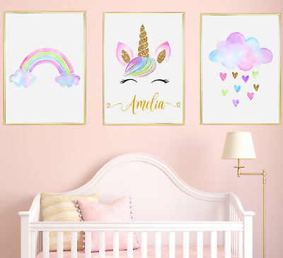 Unicorn Personalised Name Nursery Prints Set Baby Girl Bedroom Art of 3 Pictures