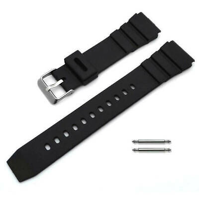 Black Rubber Silicone Diver's Style Replacement Watch Band Strap SS Buckle #4031