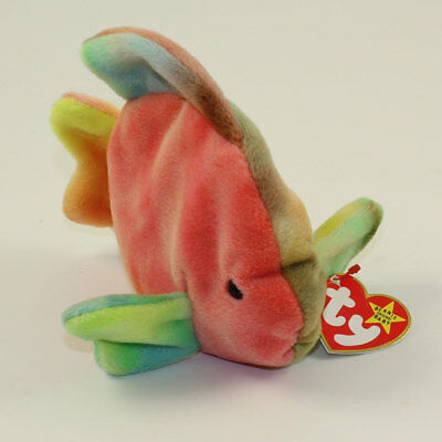 TY Beanie Baby 6 inch - MWMTs 4th Gen hang tag CORAL the Ty-dyed Fish