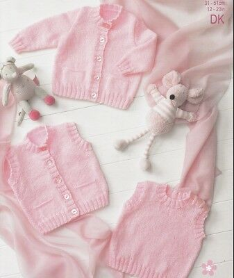 Baby Toddler Knitting Pattern 8 Ply Includes Premmie Size Vest Cardigan Slipover