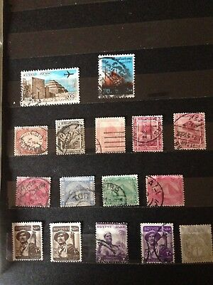 Old collection of Egypt stamps, 3 scans