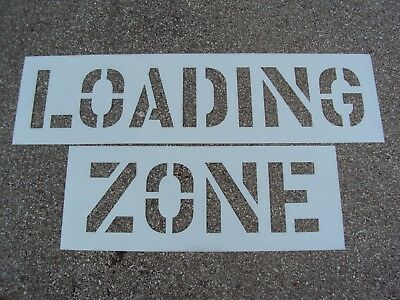 """12"""" LOADING ZONE Parking Lot Stencil, 1/16"""" LDPE, (063""""), Easy to Read BIG Edges"""