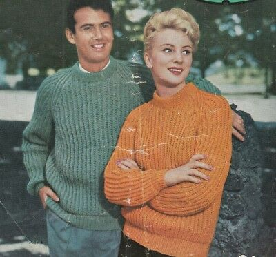 Vintage Knitting Pattern copy HIS and HERS Jumpers FISHERMANS RIB